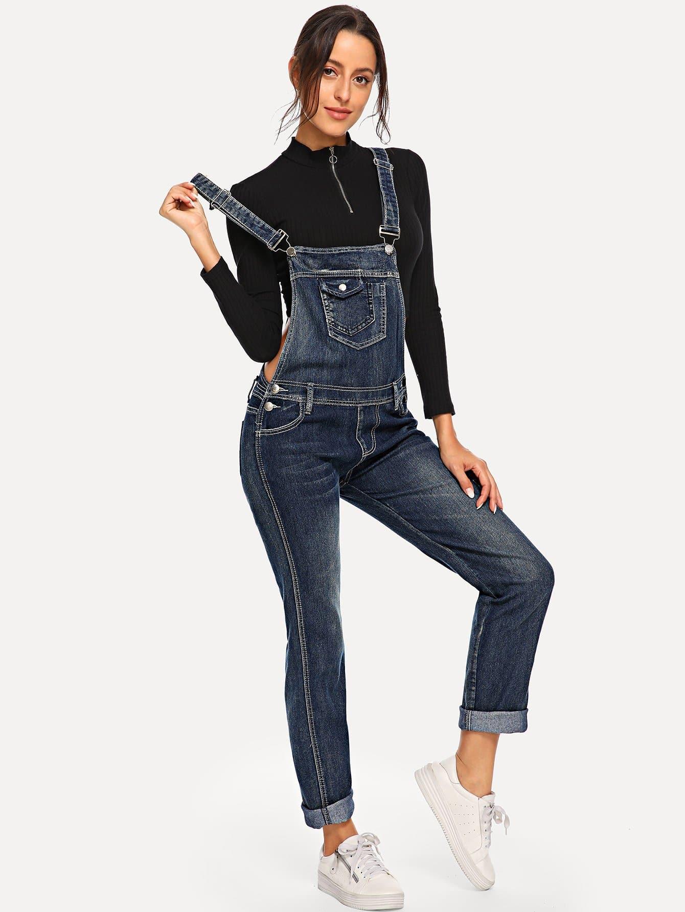 Купить Рваный джинсовый комбинезон с отделкой, Mary P., SheIn