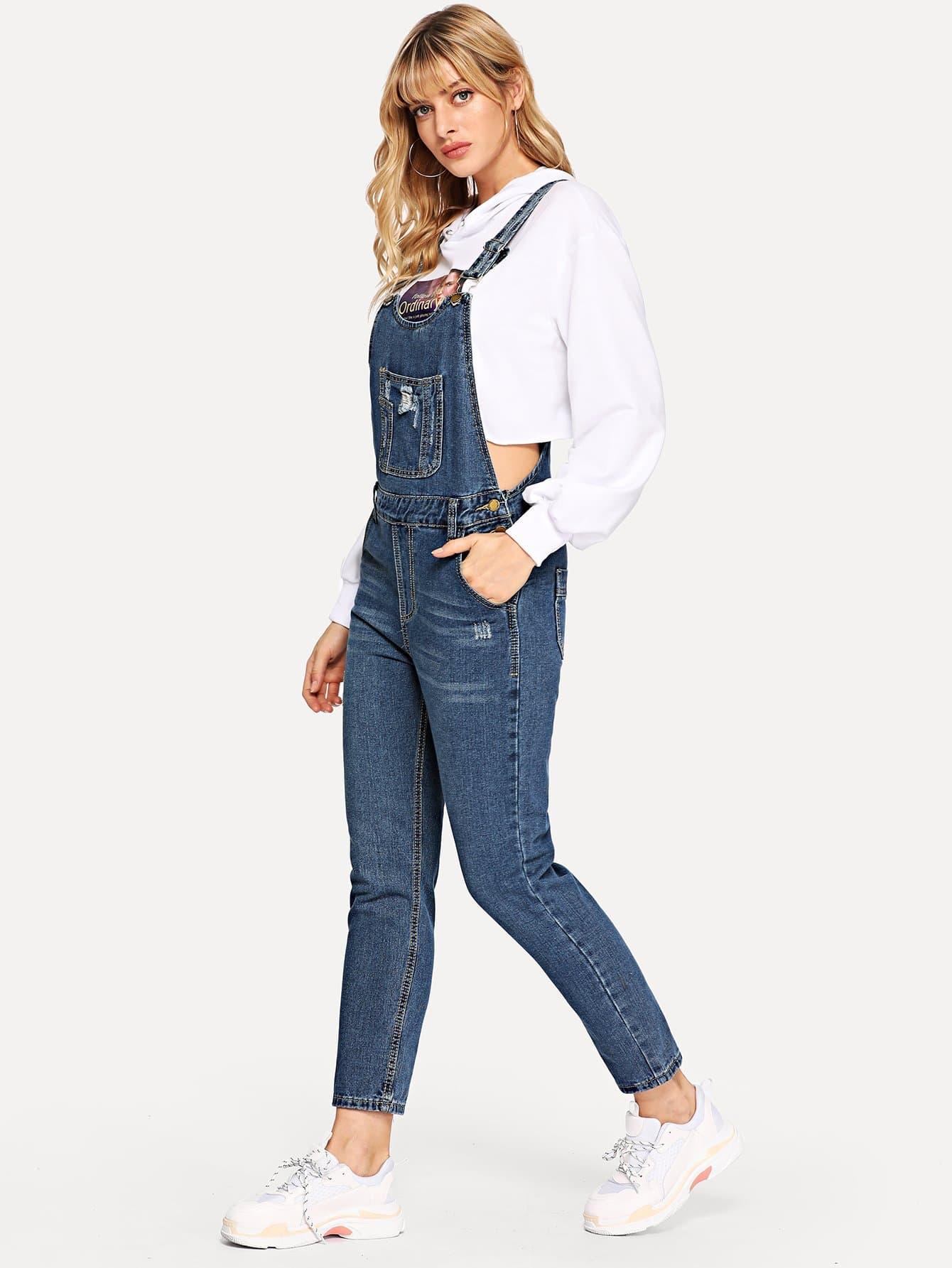 Купить Рваный джинсовый комбинезон с отделкой, Masha, SheIn