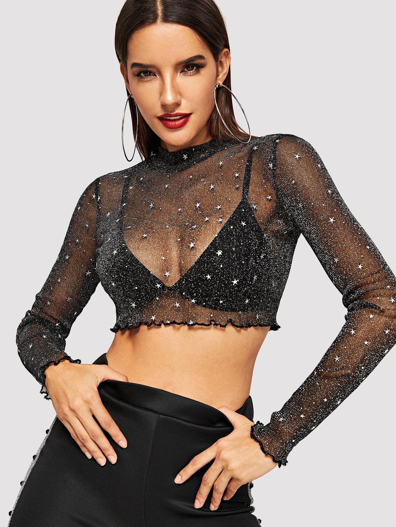 Купить Прозрачная блуза с кружевными оборками, Juliana, SheIn