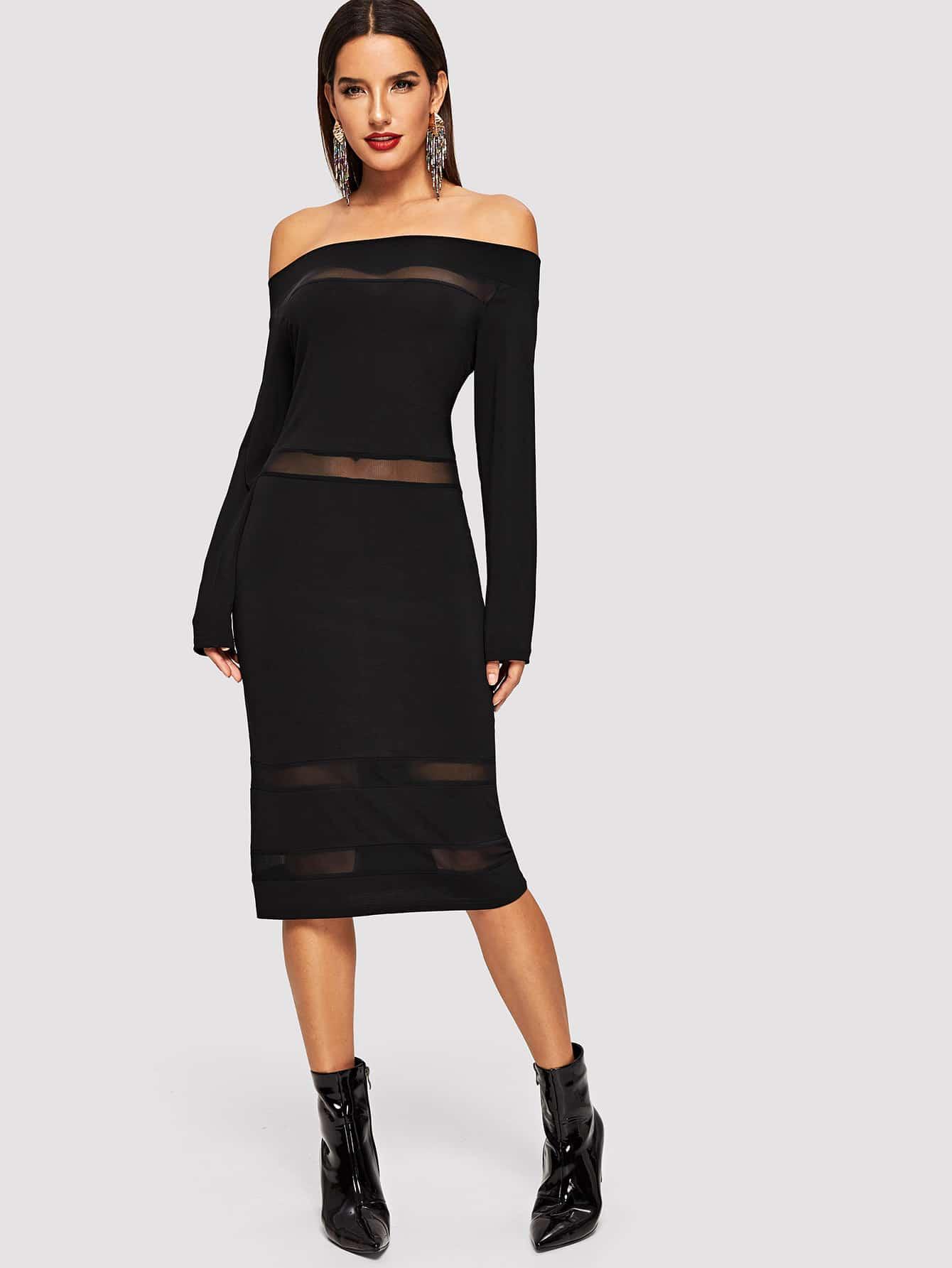 Фото - Вставки сетки облегающее платье от SheIn цвет чёрные