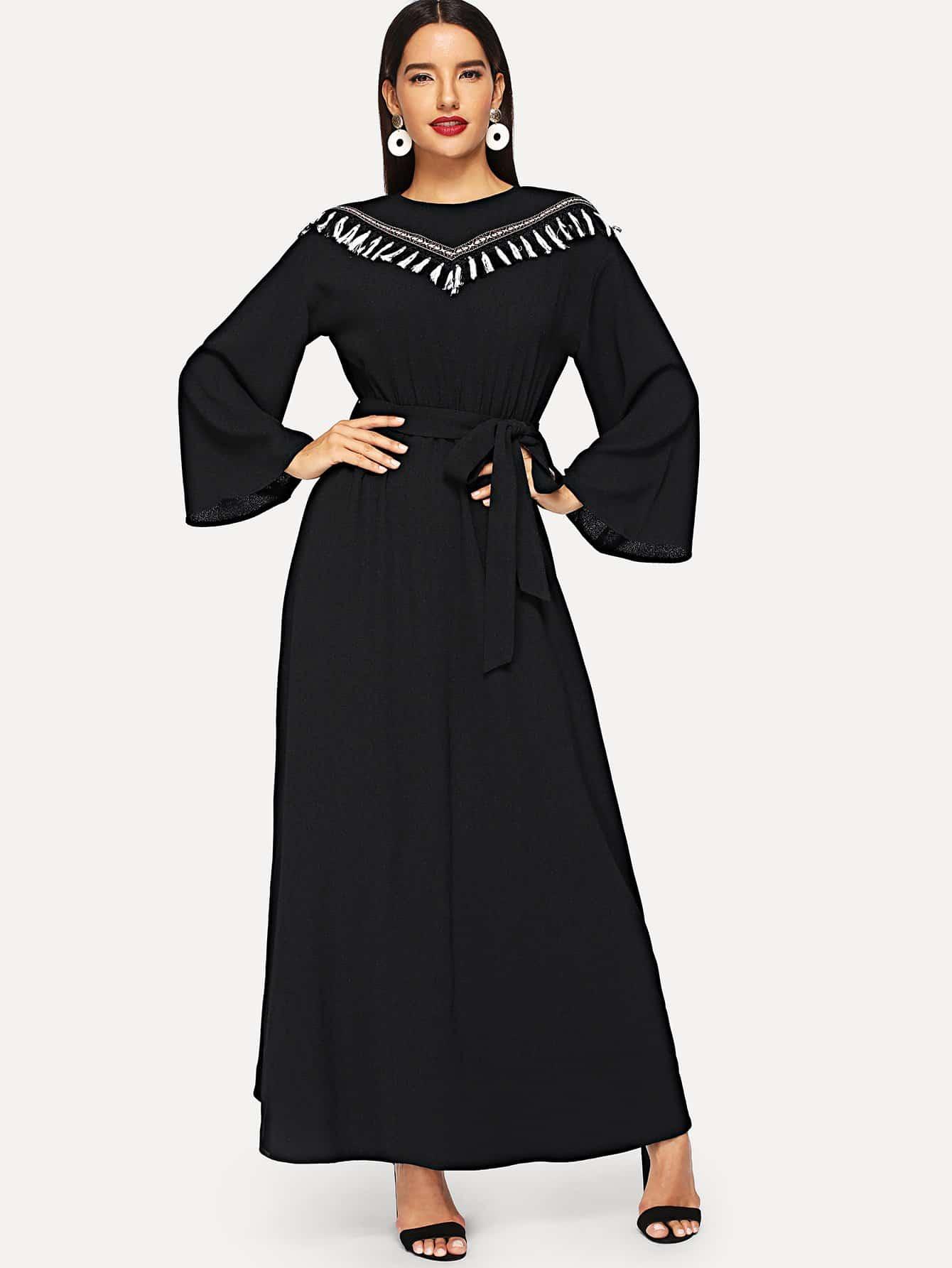 Купить Платье с вышивкой с расклешенным рукавом, Juliana, SheIn