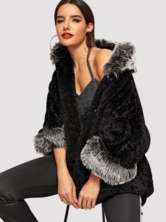 Faux Fur Detail Teddy Coat