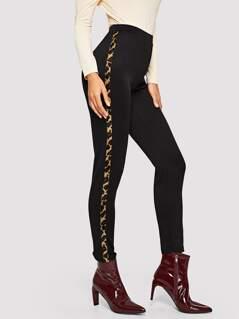 Leopard Panel Pants
