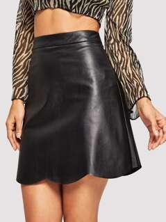 Scallop Edge PU Skirt