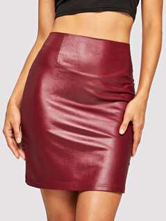 Zipper Up PU Skirt