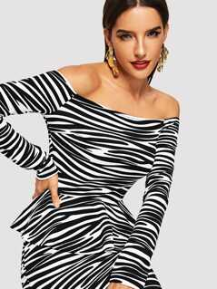 Animal Print Off Shoulder Peplum Tee