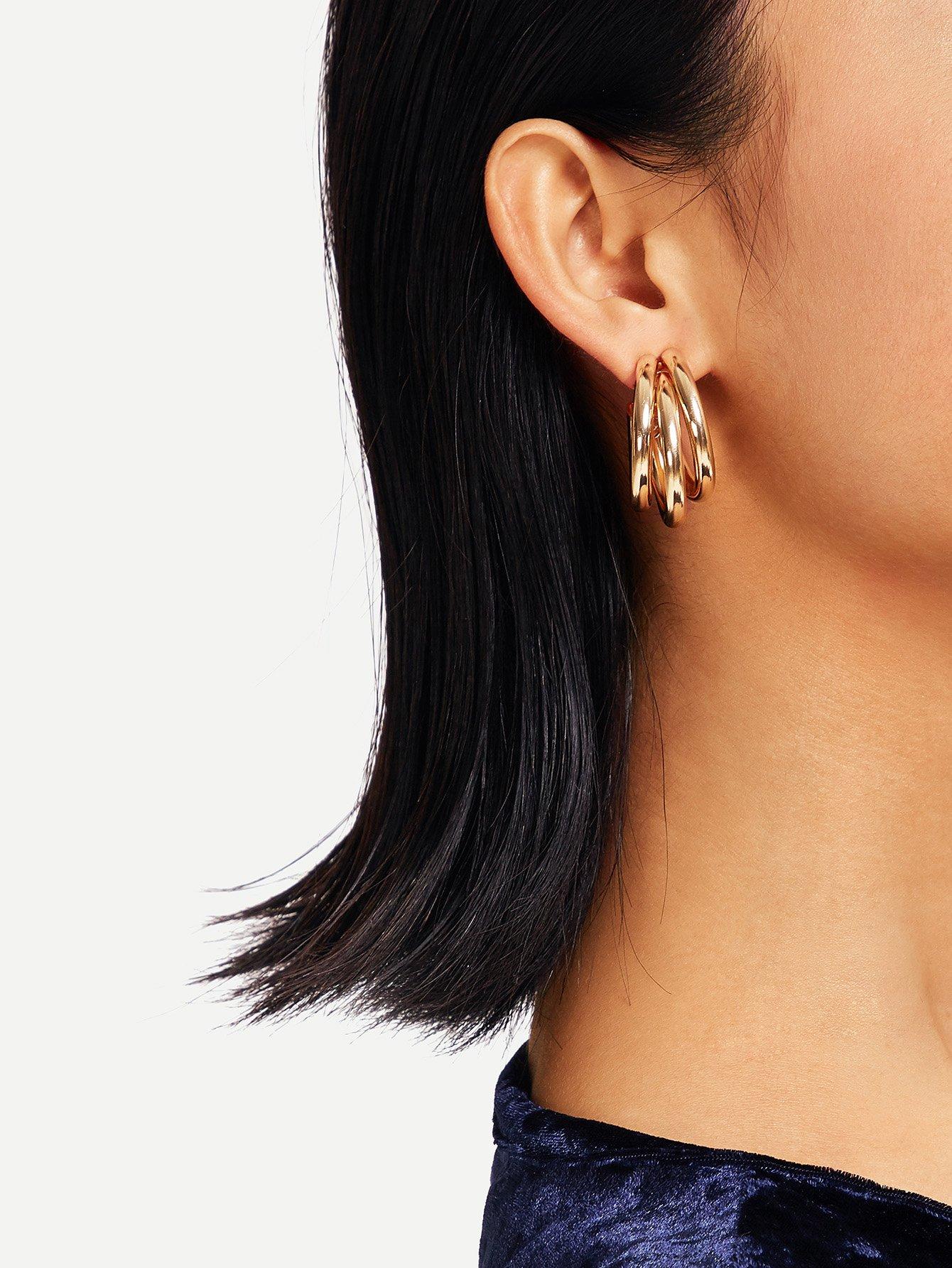Фото - Многослойные серьги обруча от SheIn цвет золотые