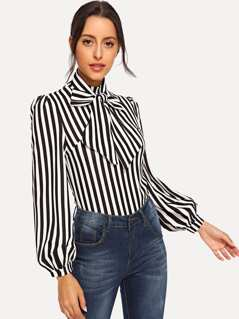 Tie Neck Striped Top