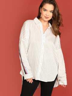 Plus Drop Shoulder Striped Shirt