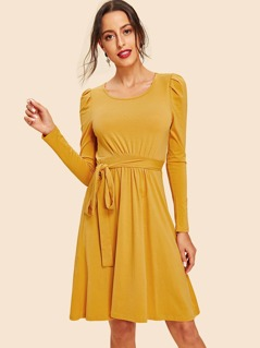 Self Belted Flare Dress
