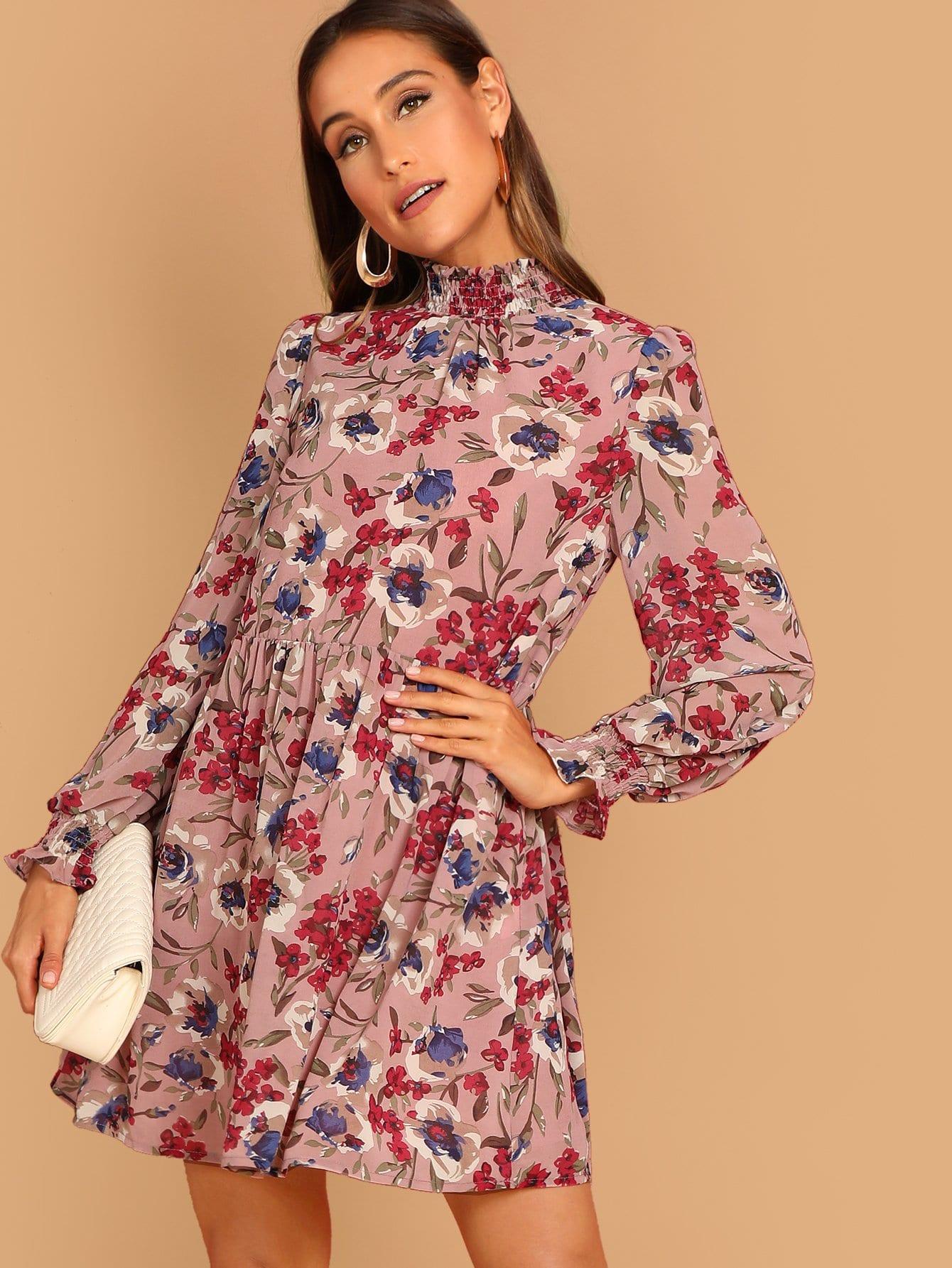 Фото - Цветочное платье со стоячим вырезом от SheIn цвет многоцветный