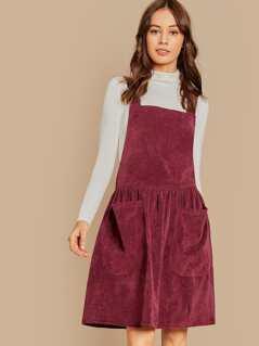 Pocket Front Cord Pinafore Dress