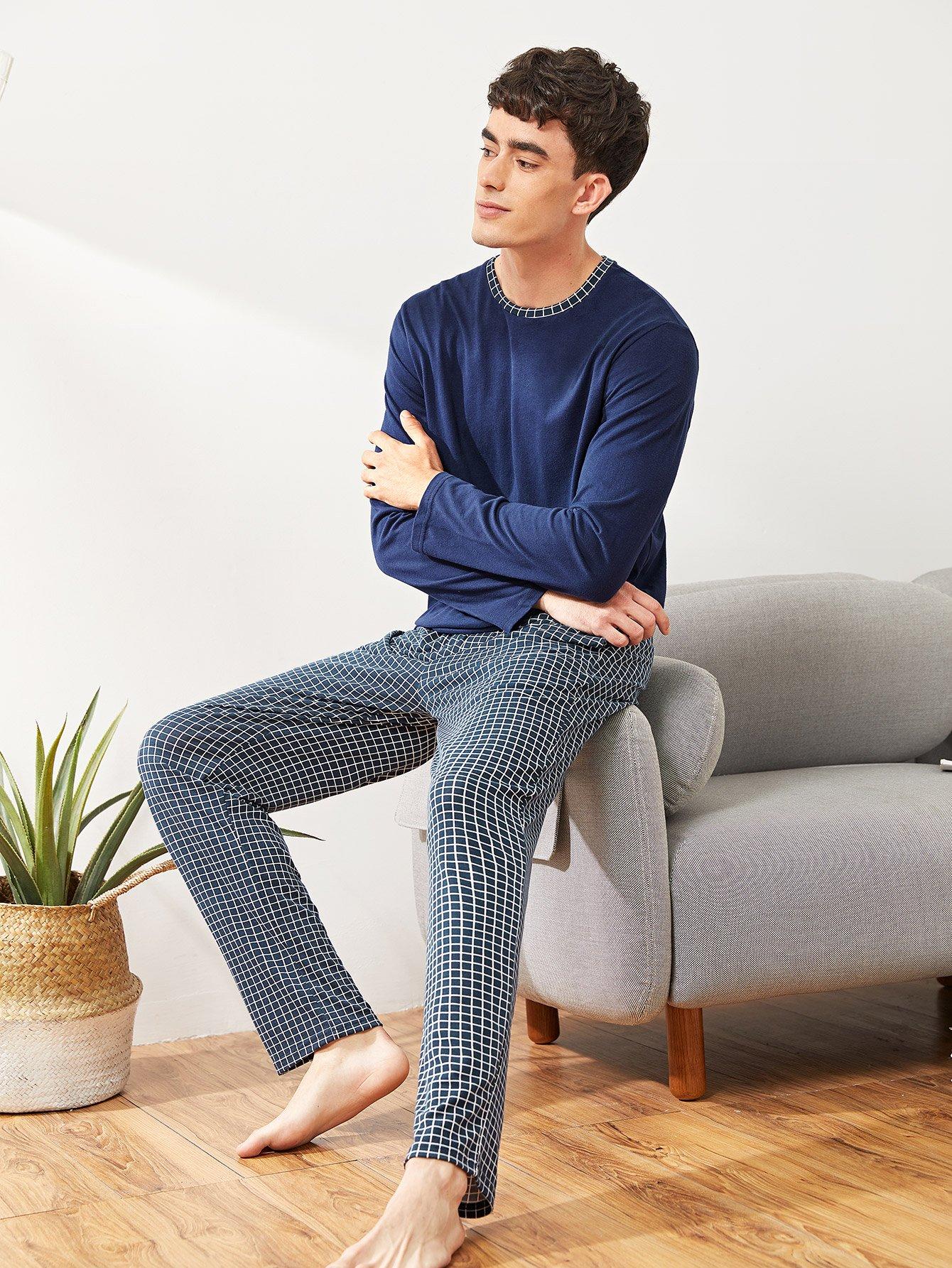 Купить Мужский комплект пижамы в клетку, Antonio, SheIn