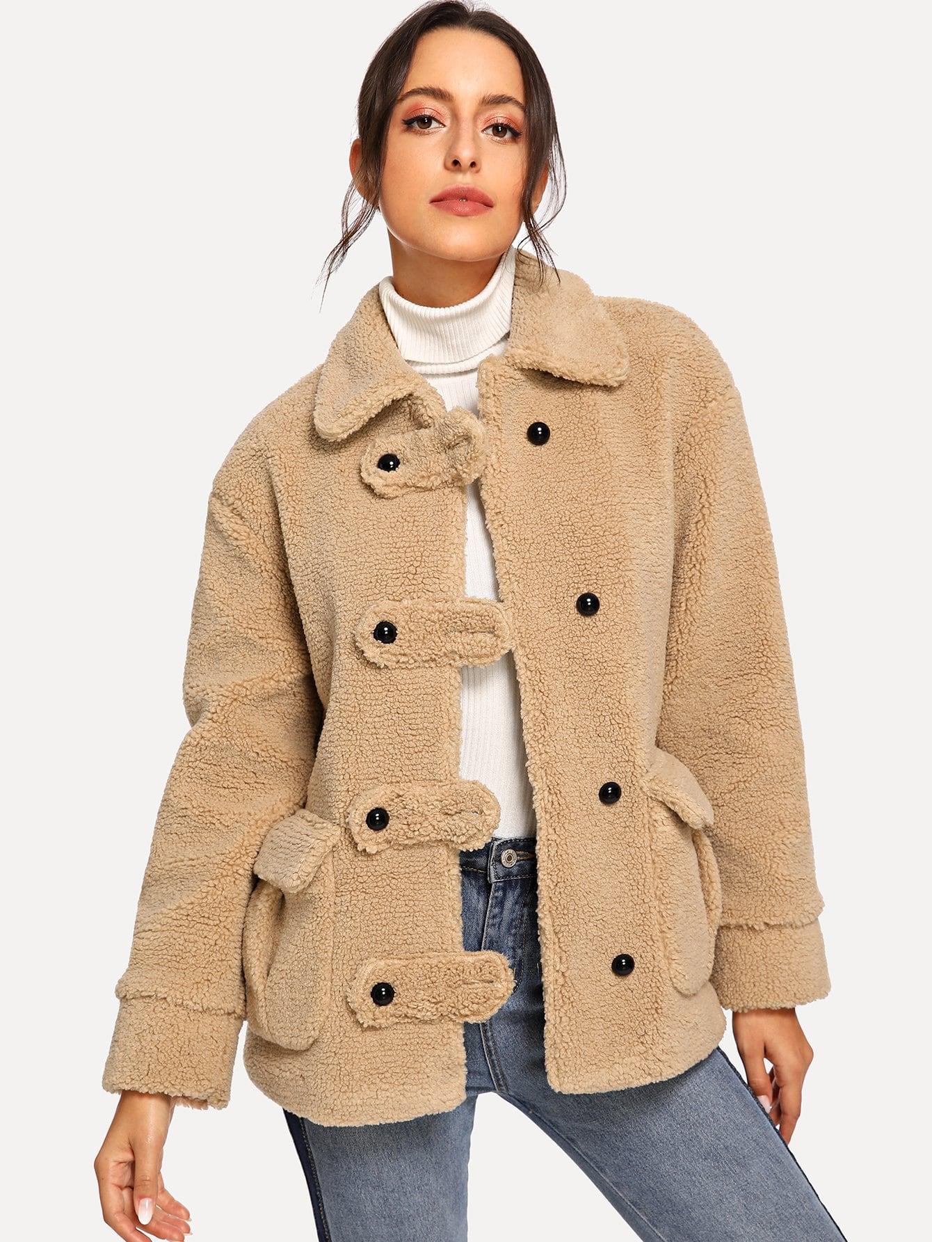 Купить Твердое пальто с карманом, Mary P., SheIn
