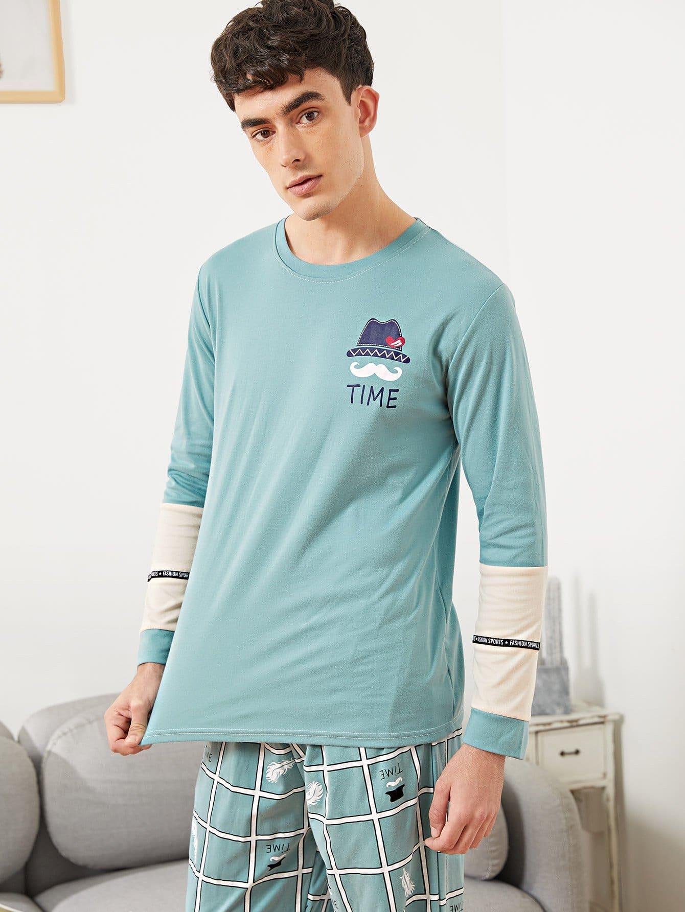 Комплект пижамы в клетку и с рисунками мультипликаций для мужчины от SheIn