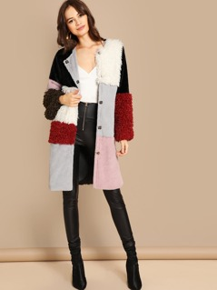 Single Breasted Color-Block Teddy Coat