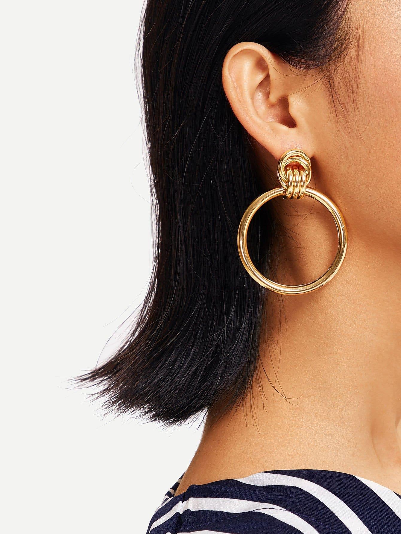 Фото - Однотонные серьги обруча с цепью от SheIn цвет золотые