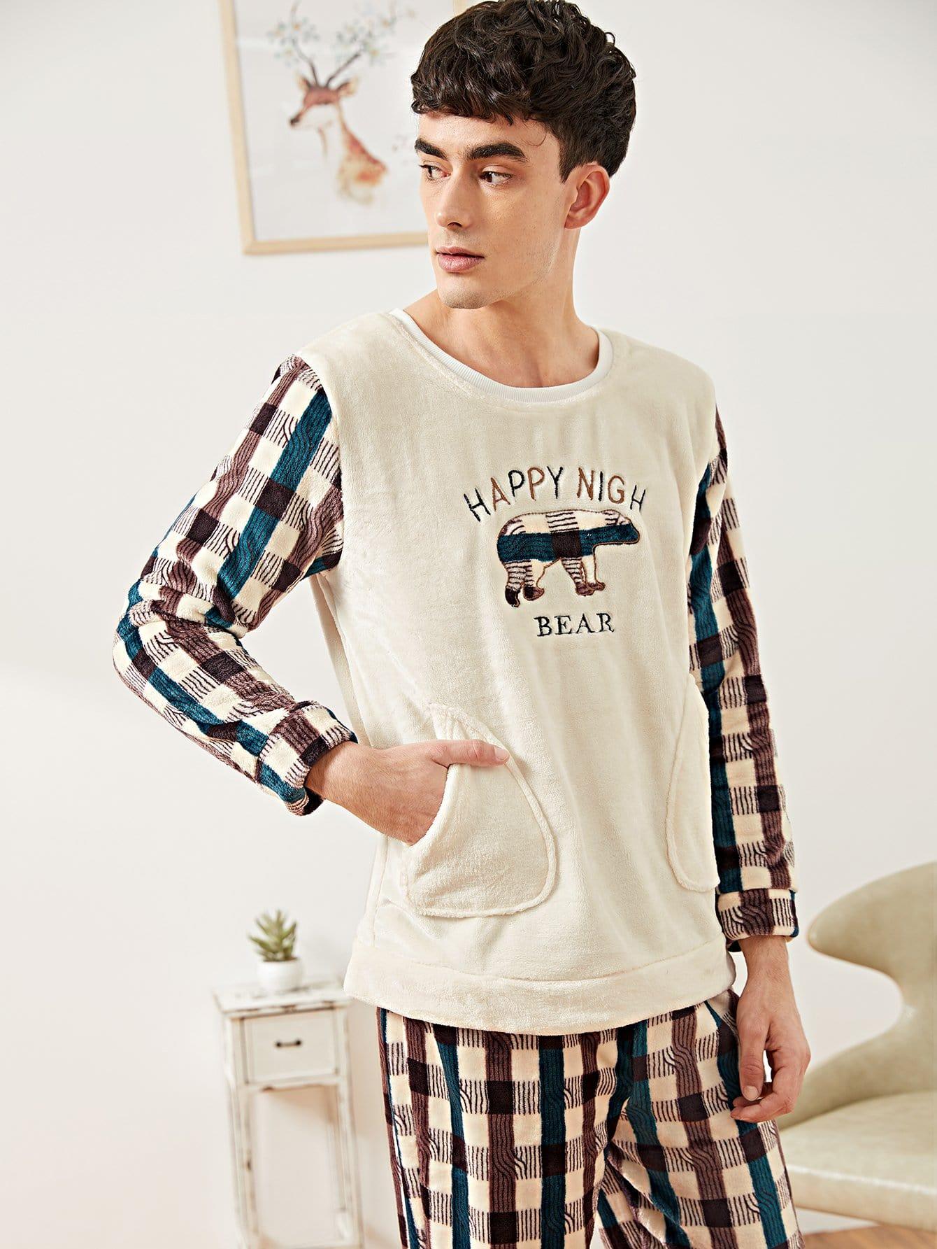 Фото - Мужские пушистая блуза с принтом вышитого медведя и брюки в клетку PJ от SheIn цвет многоцветный