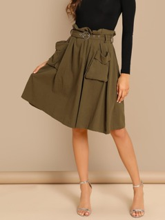 Waist Belted Pleated Pocket Skirt