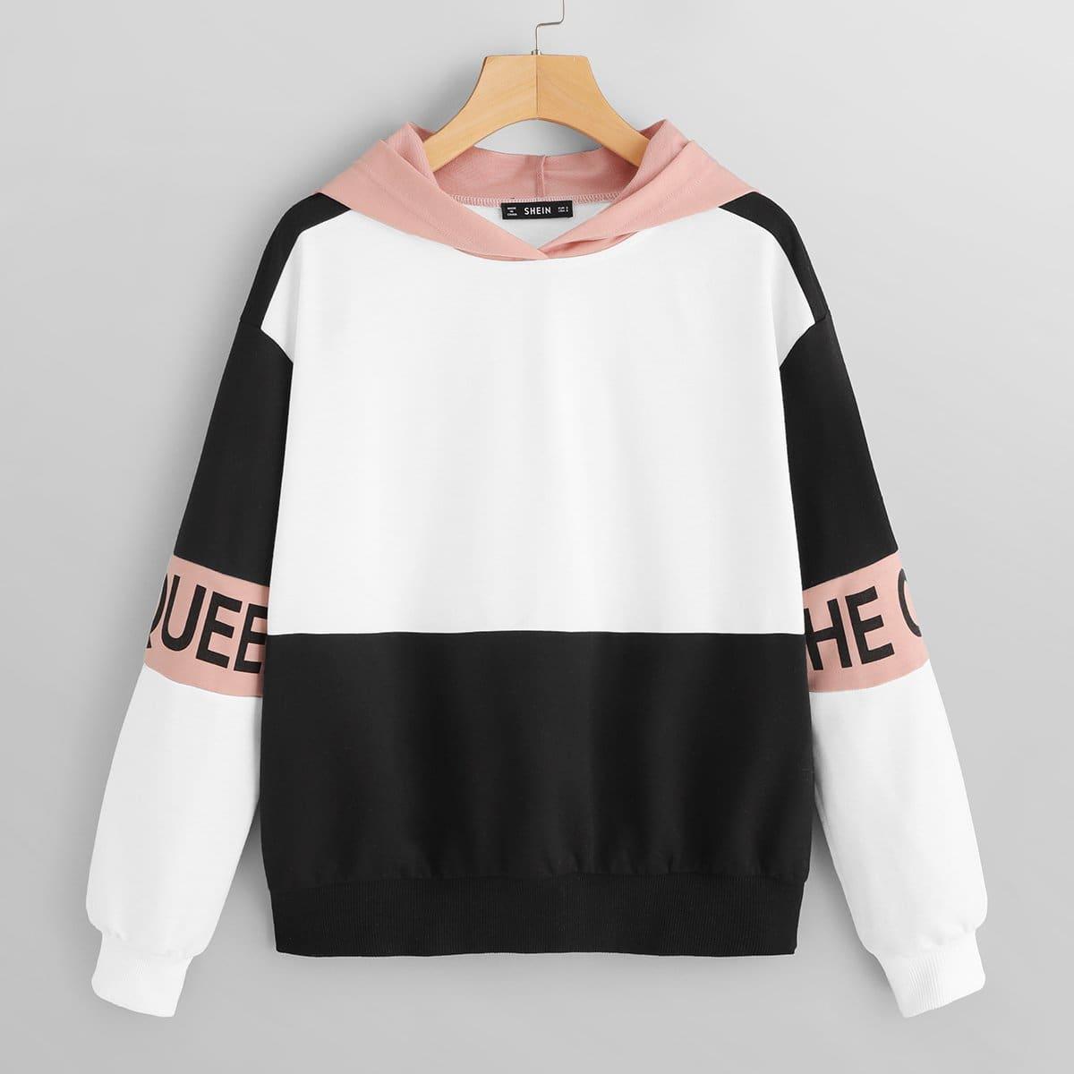 Veel kleurig Casual Tekst Sweater Kleurblok