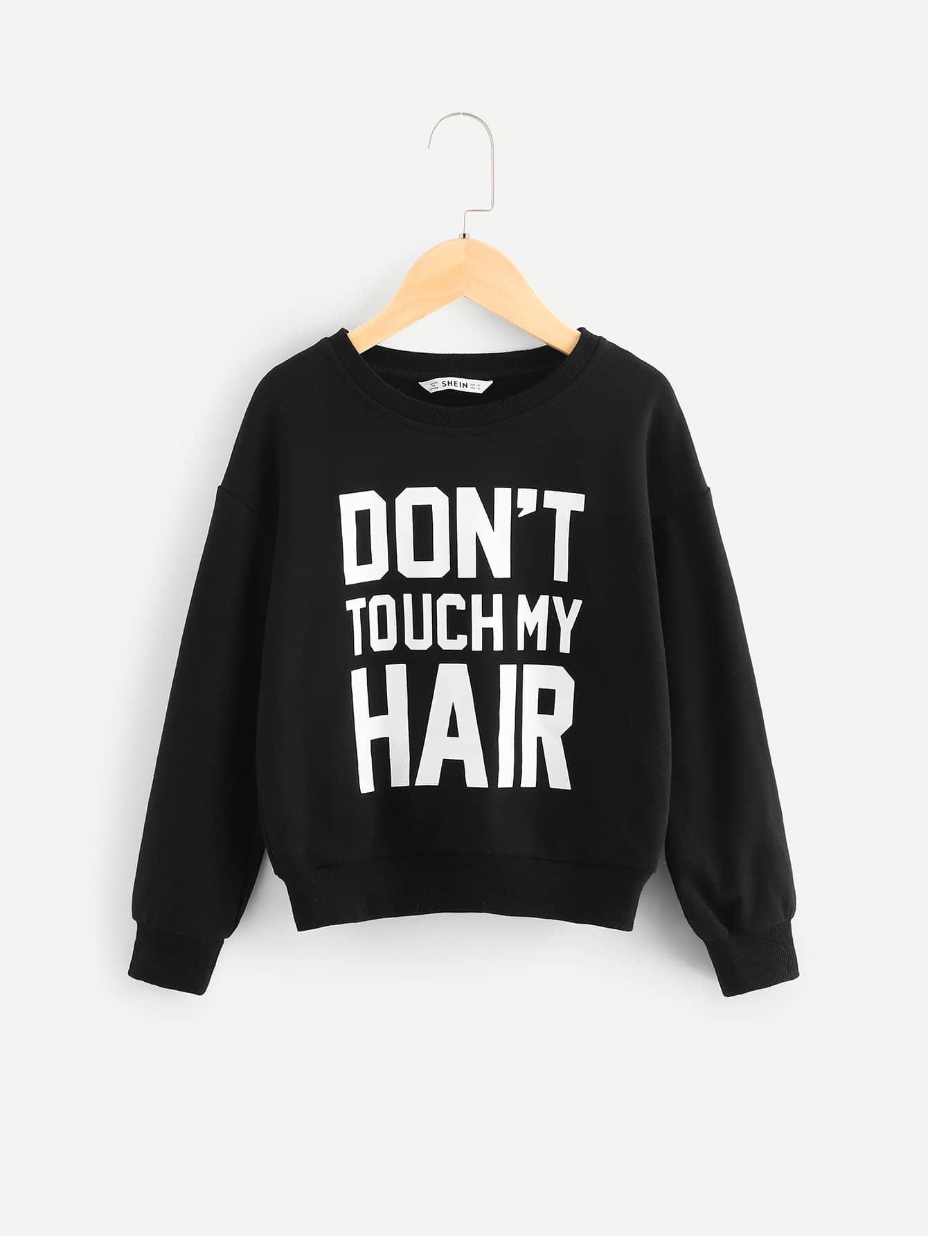 Фото - Для девочек пуловер с текстовым принтом от SheIn черного цвета