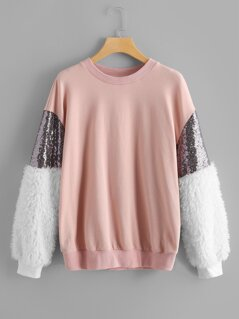 Plus Contrast Faux Fur and Sequin Pullover