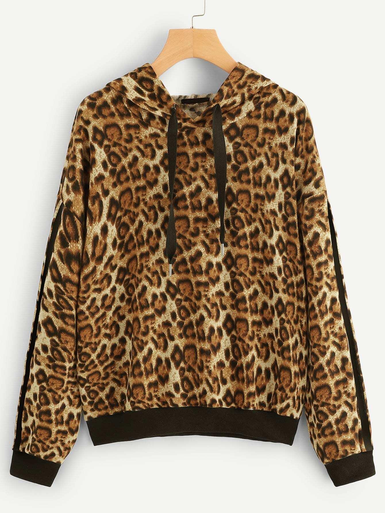Купить Леопардовая толстовка с заниженной линией плеч, null, SheIn