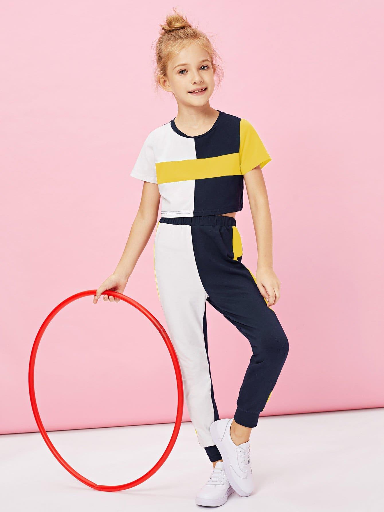 Купить Для девочек контрастный топ и брюки комплект, Kassia, SheIn