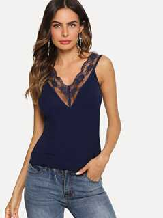 Sheer Lace Trim Double V Neckline Top