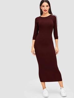 Striped Raglan Sleeve Bodycon Dress