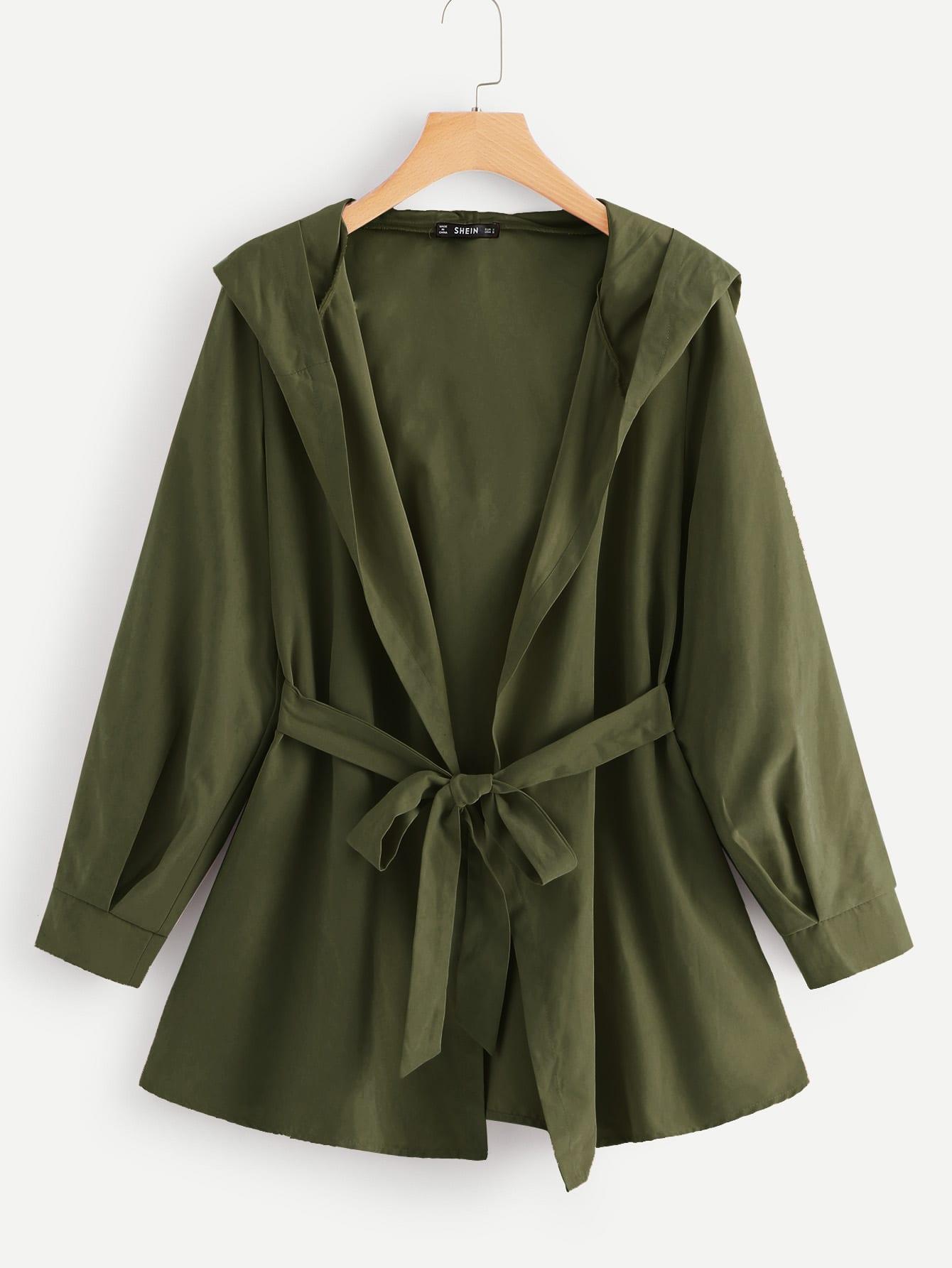 Купить Однотонное пальто с капюшоном с поясом, null, SheIn