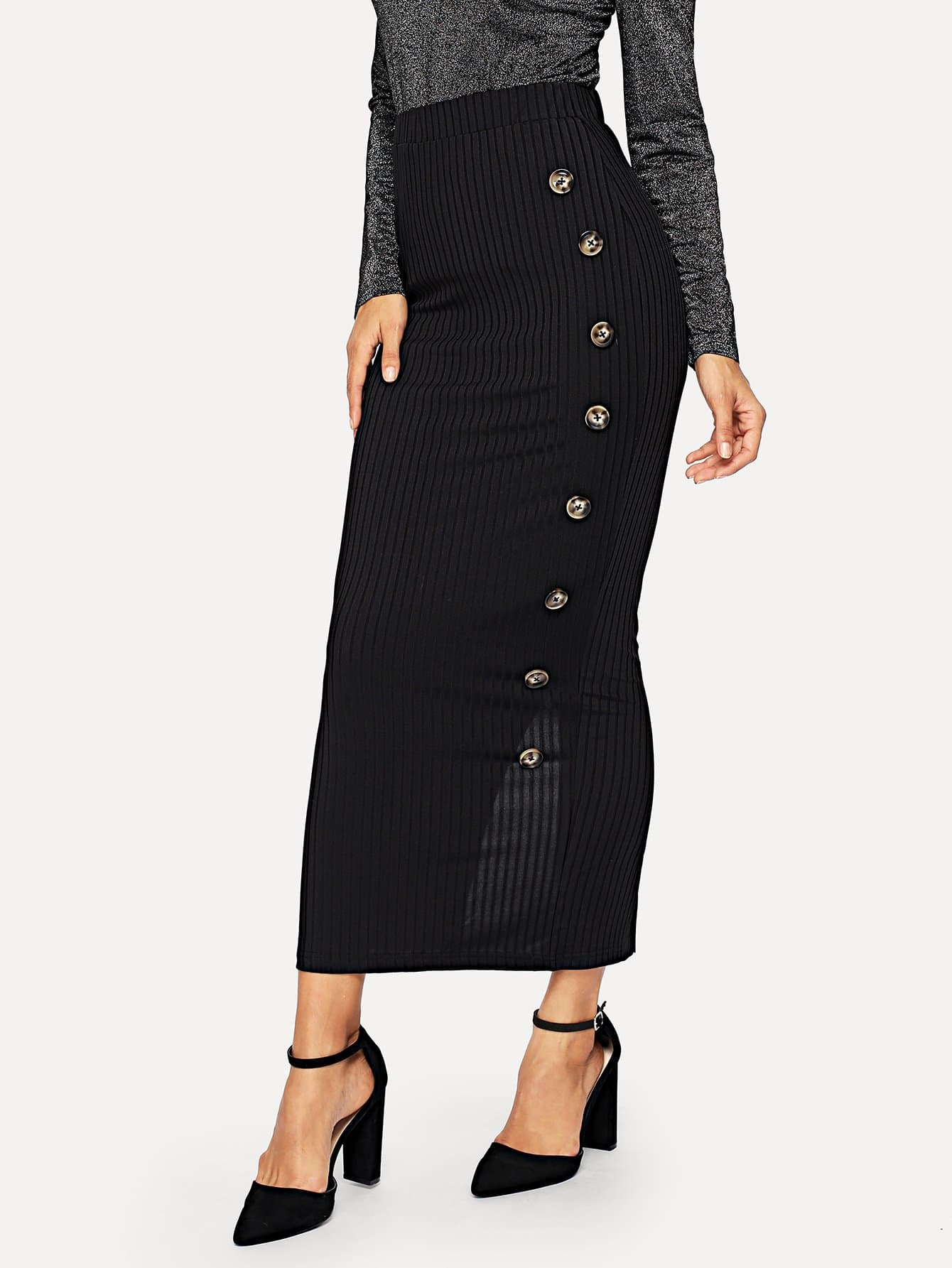 Купить Вязаная юбка с пуговицами с высокой талией, Juliana, SheIn