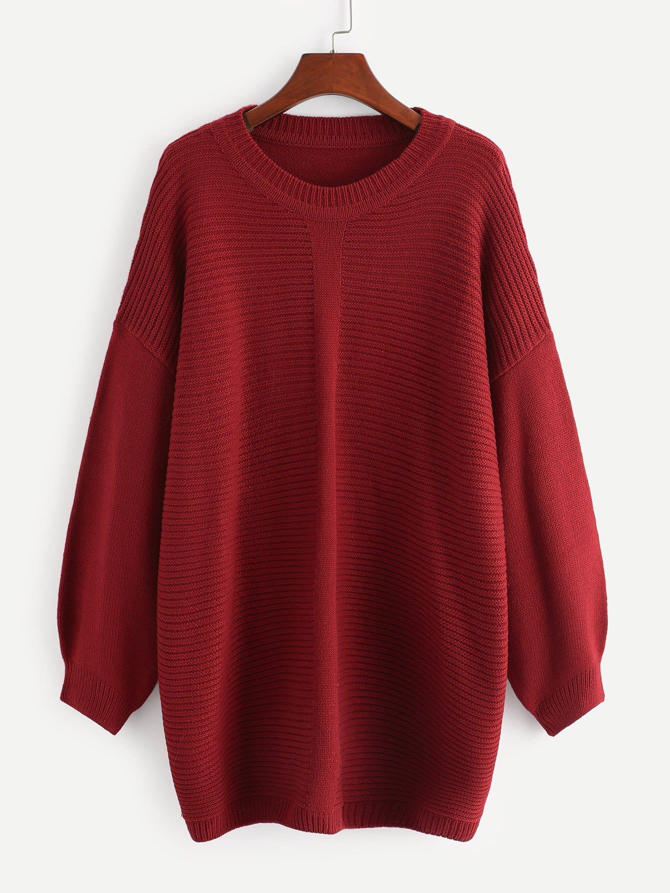 Купить Трикотажный свитер с опущенным плечом размера плюс, null, SheIn