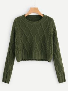 Mixed Knit Solid Crop Jumper