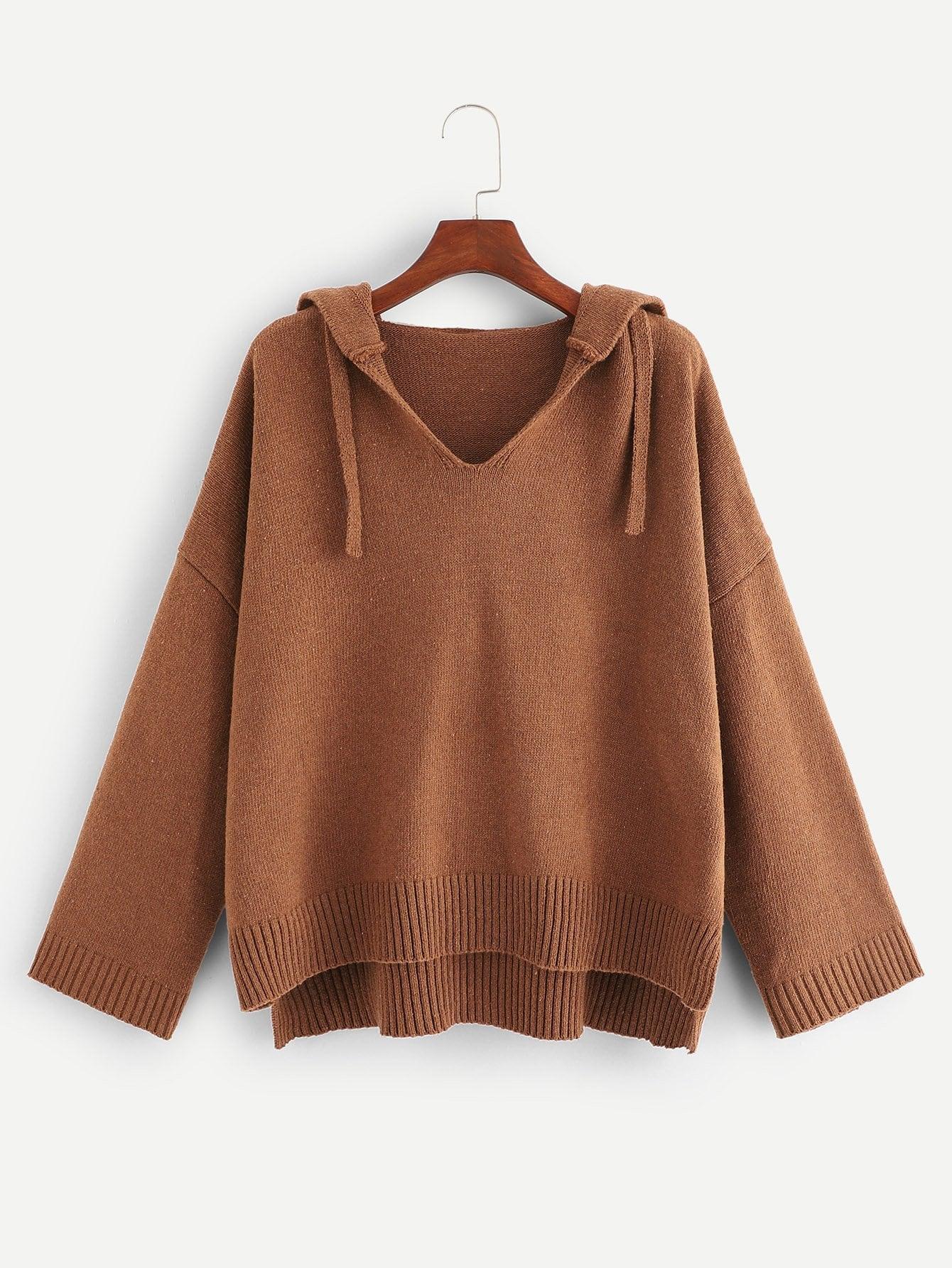 Купить Трикотажный однотонный свитер с многоуровневом слои подол размера плюс, null, SheIn