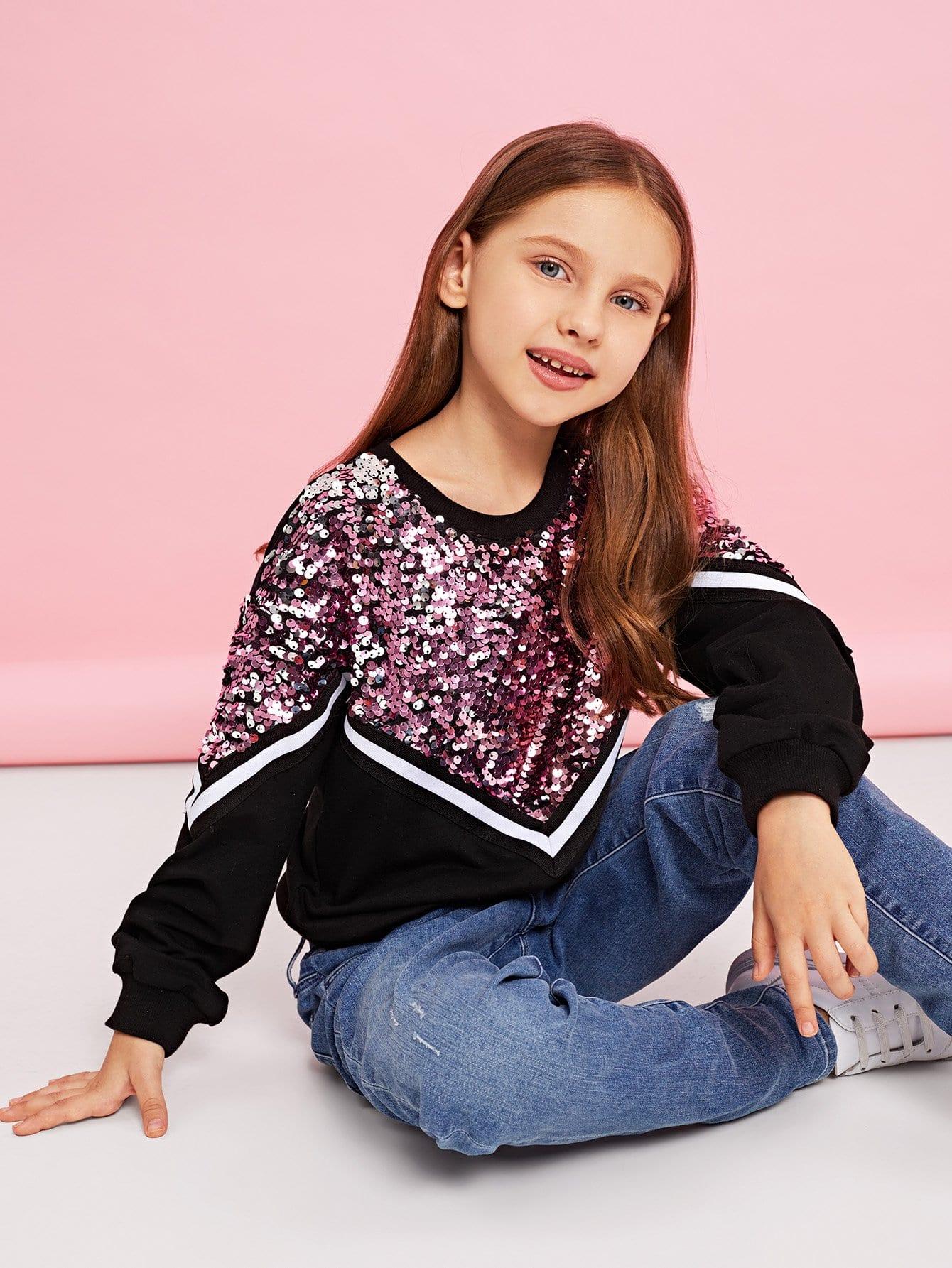 Купить Контрастный пуловер со блестками для девочек, Anna C, SheIn