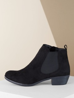 Faux Fur Lined Elastic Side Low Heel Ankle Booties