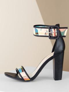 Iridescent Ankle Strap Open Toe Heel Sandals