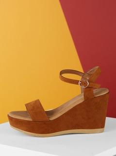 Ankle Buckle Strap Platform Open Toe Wedge Sandals