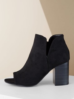 Open Toe Split Shaft Stacked Heel Booties