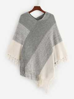 Fringe Trim Color Block Poncho Sweater