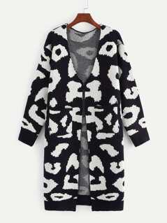 Open Front Leopard Sweater Coat