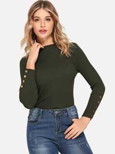 Buttoned Cuff Rib Knit Fitted Jumper