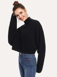 Balloon Sleeve Crop Boxy Sweater