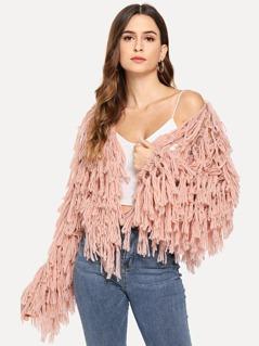 Open Knit Fuzzy Fringe Cardigan