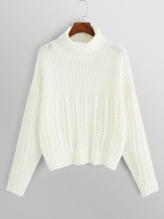 Roll Neck Mixed Knit Sweater