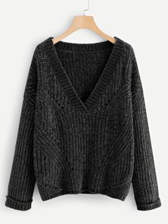 Cuffed Sleeve Chenille Sweater