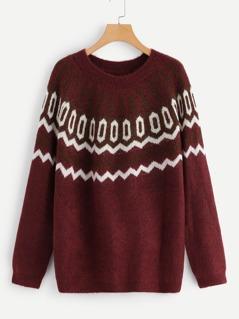 Raglan Sleeve Geo Sweater
