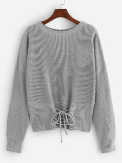 Drop Shoulder Lace-Up Front Sweater