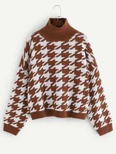 Stand Collar Drop Shoulder Sweater